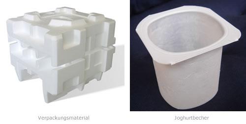 Polystyrol (Kurzzeichen PS) ist ein transparenter, geschäumter, meist weißer Standardkunststoff, der sehr vielseitig im Alltag eingesetzt wird.